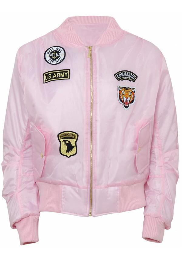 Roze Bomberjack Met Emblemen