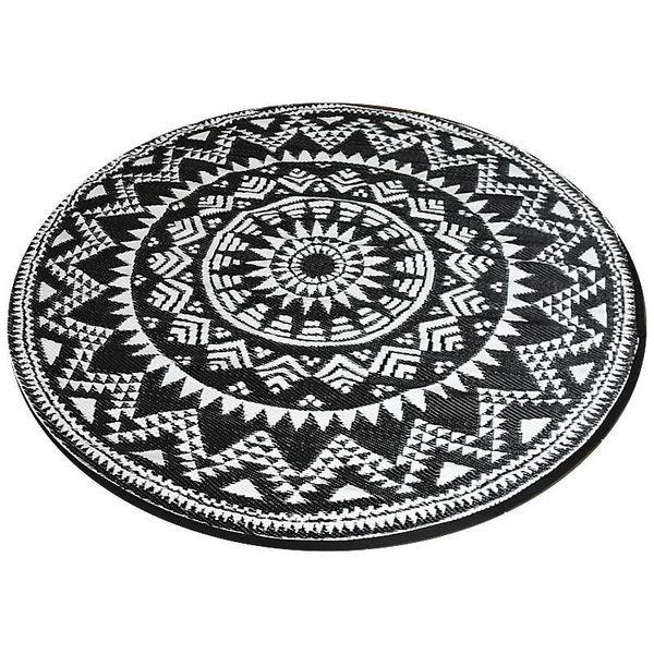 Wonder Rugs Rond plastic buitenkleed zwart wit