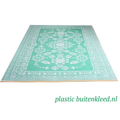 Wonder Rugs Turquoise wit plastic kleed
