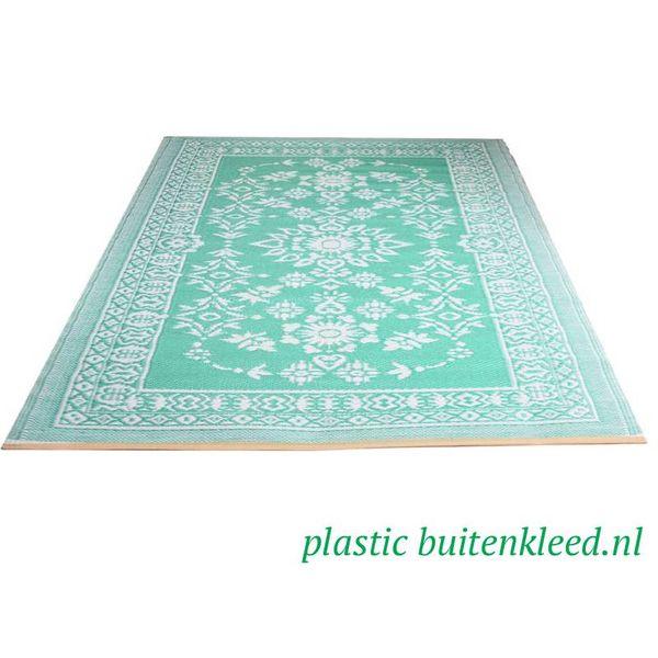 Wonder Rugs Turquoise wit plastic kleed bloemen