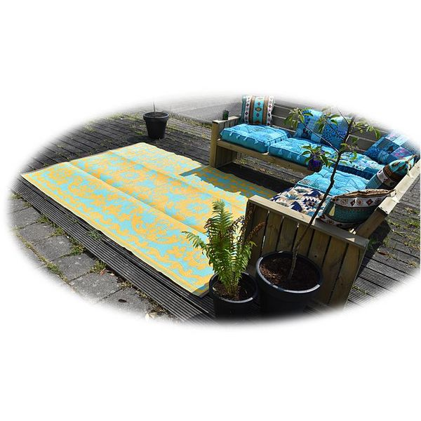 Wonder Rugs Buitentapijt limited edition saffraan blauw