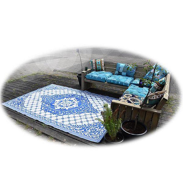 Wonder Rugs Buitenkleed classic blauw met wit rozenkelim