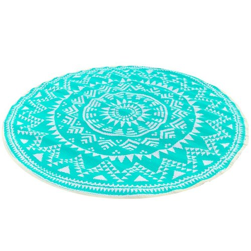 Wonder Rugs Turquoise wit rond buitenkleed