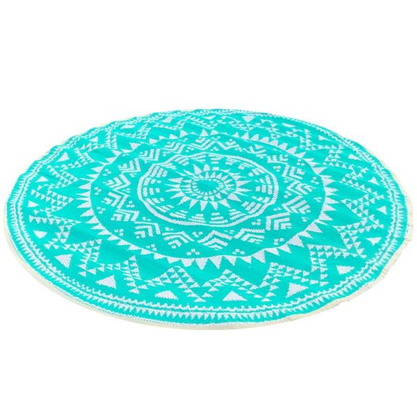 Wonder Rugs Turquoise wit rond buitenkleed oosters