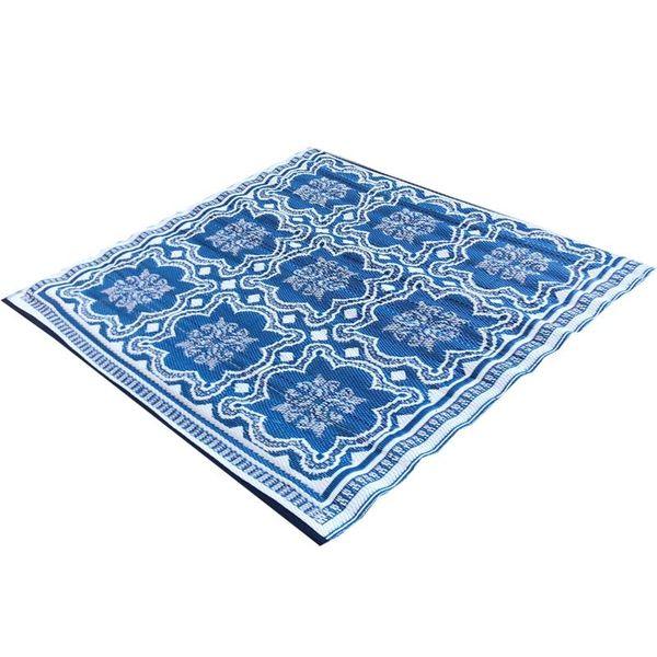 Vierkant buitenkleed blauw wit