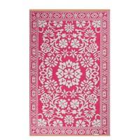 Roze wit buitenvloerkleed bloemen