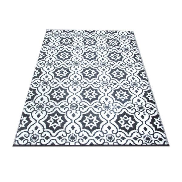 Wonder Rugs Zwart wit plastic buitenkleed circles