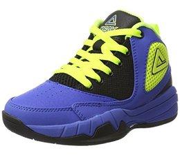 """PEAK Sport Kinder Basketball Schoenen stijl """"Monster"""" kleur Blauw/Geel"""