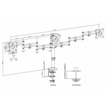 Neomounts NM-D135D3BLACK Triple Monitor Beugel