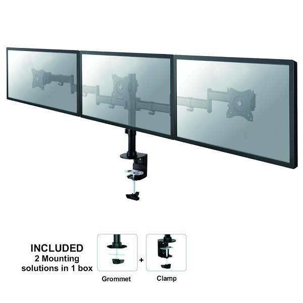 Neomounts NM-D135D3BLACK Triple Monitor Beugel 2e Kans