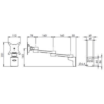 Dataflex Viewlite monitorarm Zilver/Wit - wand 222