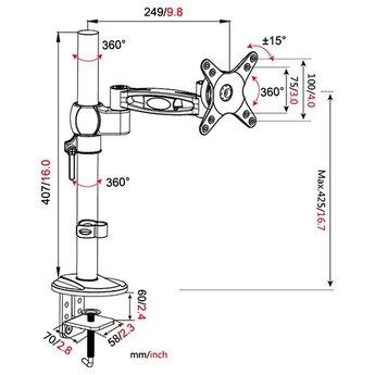 Vision Mounts VM D12 Monitorarm Zwart