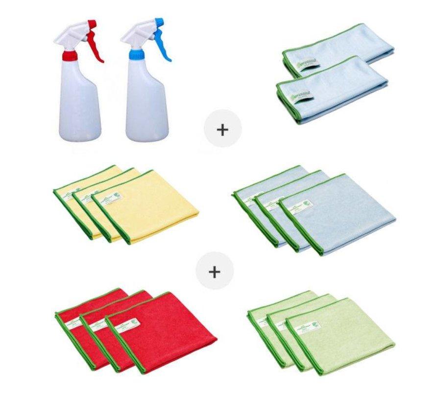 Set Mikrofasertücher (14 Stück Greenspeed-Mikrofasertücher und zwei Sprühflaschen)
