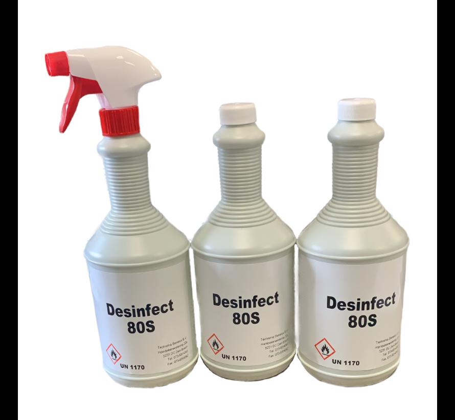 Desinfect 80S | Desinfectiemiddel | 3 flacons à 1 liter waarvan 1 met sprayer