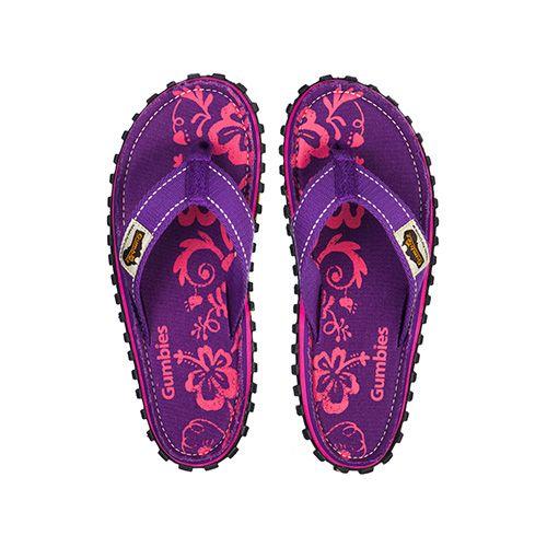 Gumbies teenslippers flip flop Purple Hibiscus