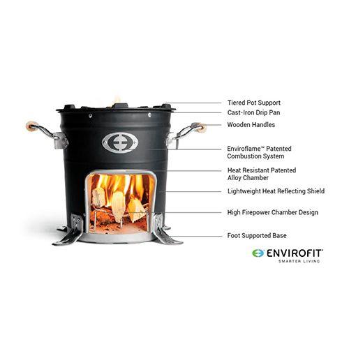 Envirofit houtstoof M5000 + dubbel kooktoestel