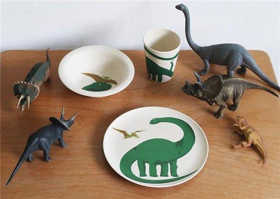 Zuperzozial kinderservies lunchset Dino 3-delig