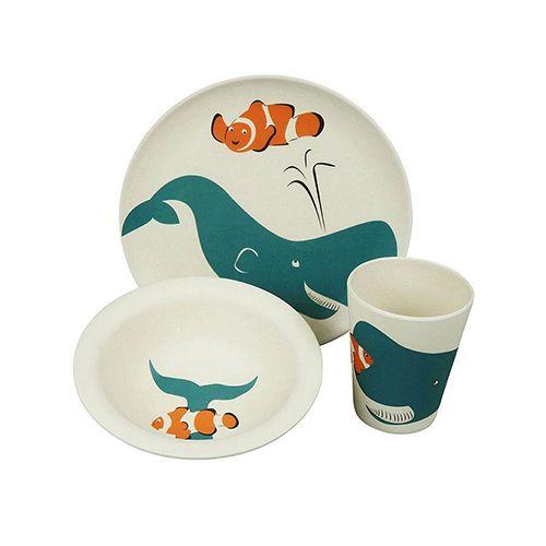 Zuperzozial kinderservies lunchset Walvis 3-delig