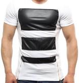 Eksi-1 Leather Look T-shirt White