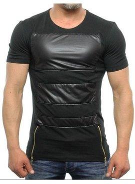 Eksi-1 Leather Look T-shirt Double Zip (M/XL)