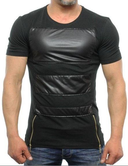 Eksi-1 Leather Look T-shirt Double Zip