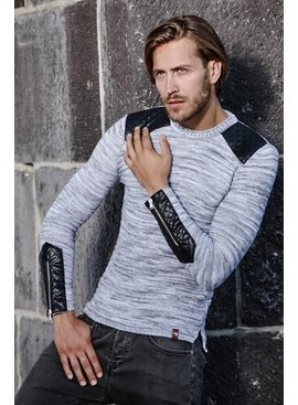 Carisma Sweater Leather Patches Grey (Maat L)