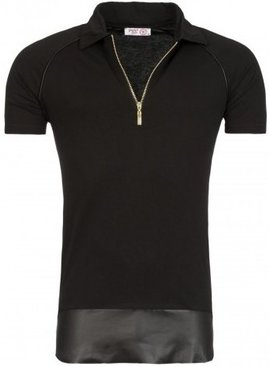 Young & Rich Polo Zip & Leather Look (L/XL)