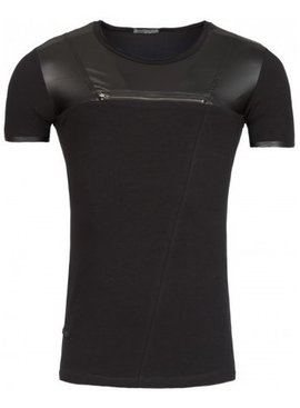 Young & Rich T-shirt Leather Look Top Black (M/L)