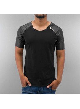 Bangastic T-shirt Shoulder Leather Look & Zip (Maat M)