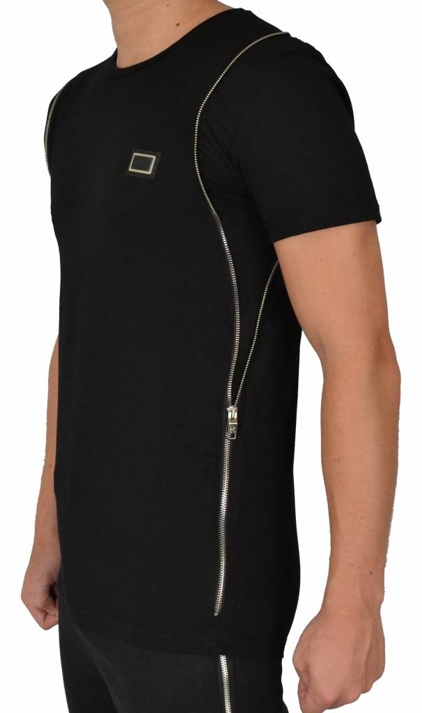 Leif Nelson T-shirt Side Zip Black