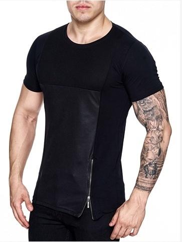 Kickdown T-shirt Zip & Leather Look Black