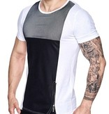 Kickdown T-shirt Zip & Leather Look White