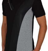 Leif Nelson T-shirt Zip Leather Look Black Grey