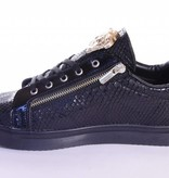 Tamboga Low sneaker snake skin zip black