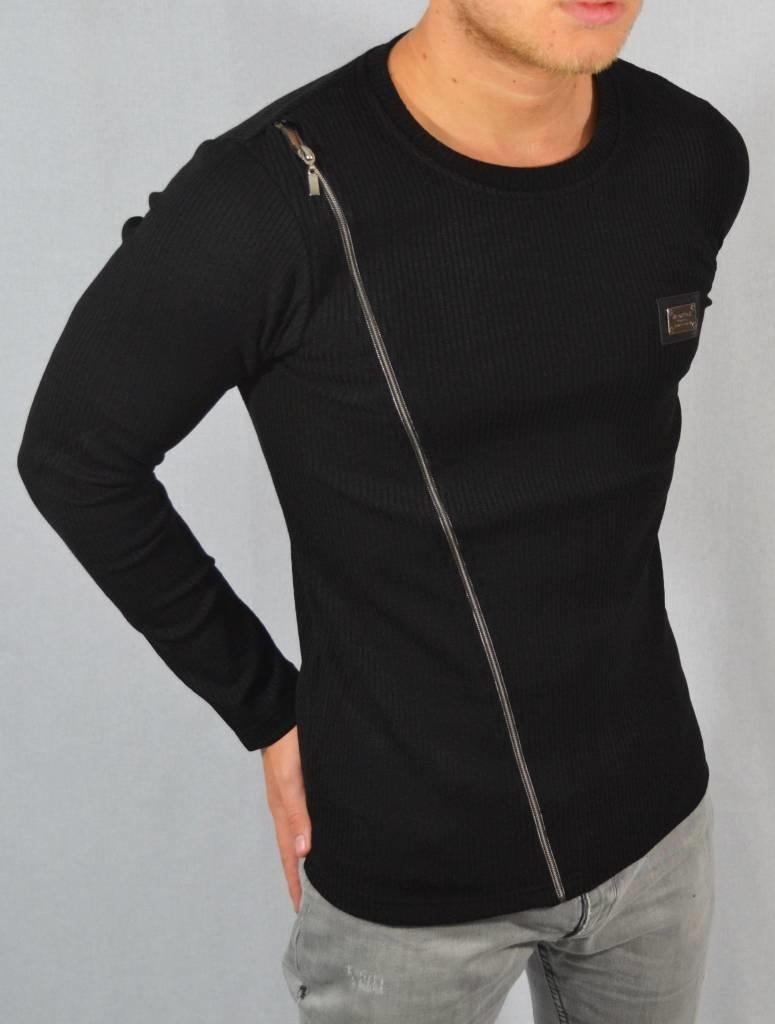 Blackrock Sweater met schuine rits zwart