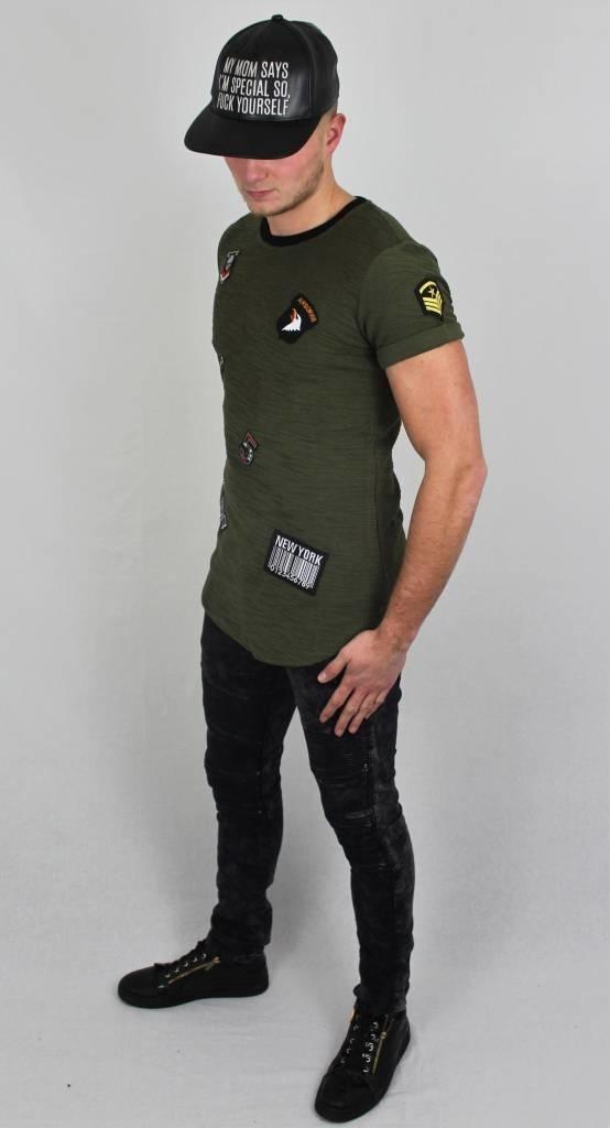 T-shirt Badges Camo Groen