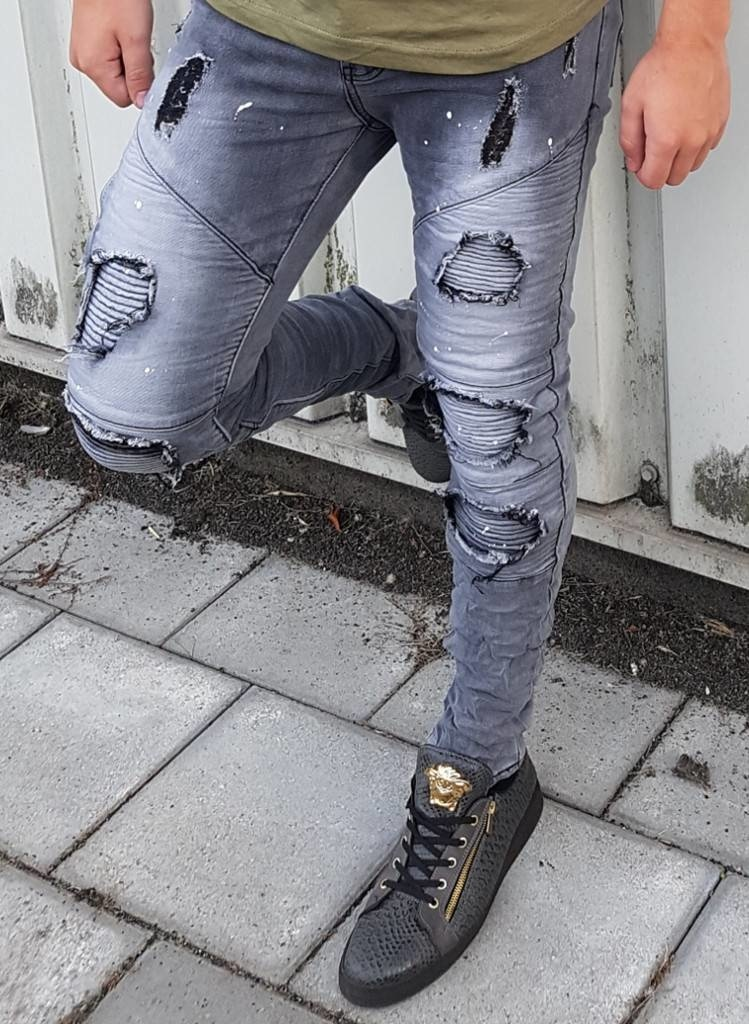 Ripped Skinny Jeans Grey