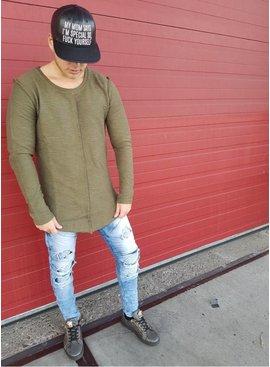 Longsleeve Khaki Green Details