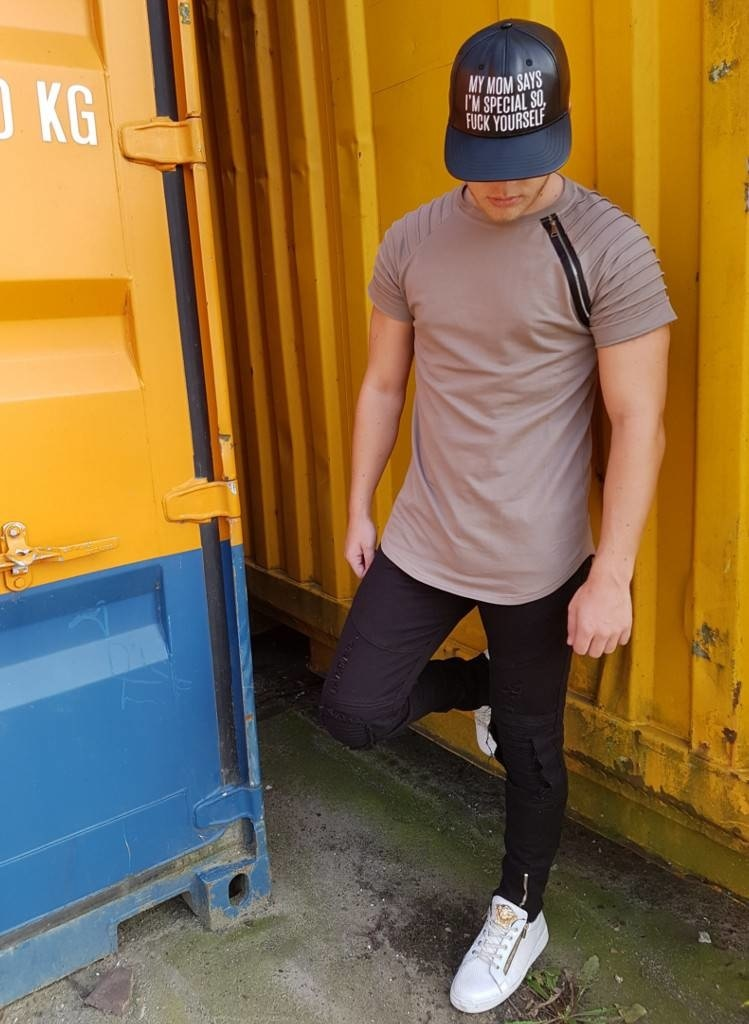 T-shirt Khaki Zip