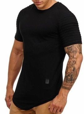 T-shirt Ribbed Sleeve Black (S)