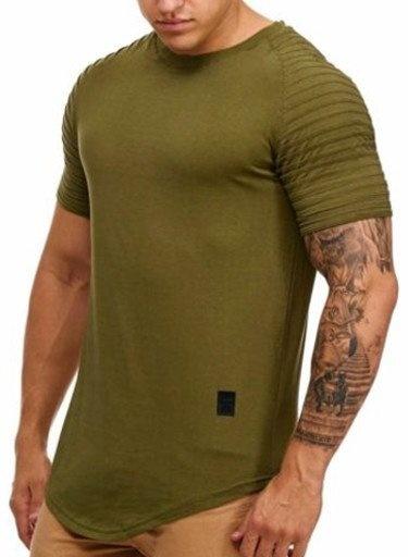 T-shirt Ribbed Sleeve Camo Green