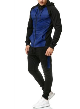 Slim Fit Trainingspak | Gestreept | Blauw & Zwart