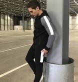 Trainingspak Zwart Wit Ribbel Details Slim-Fit