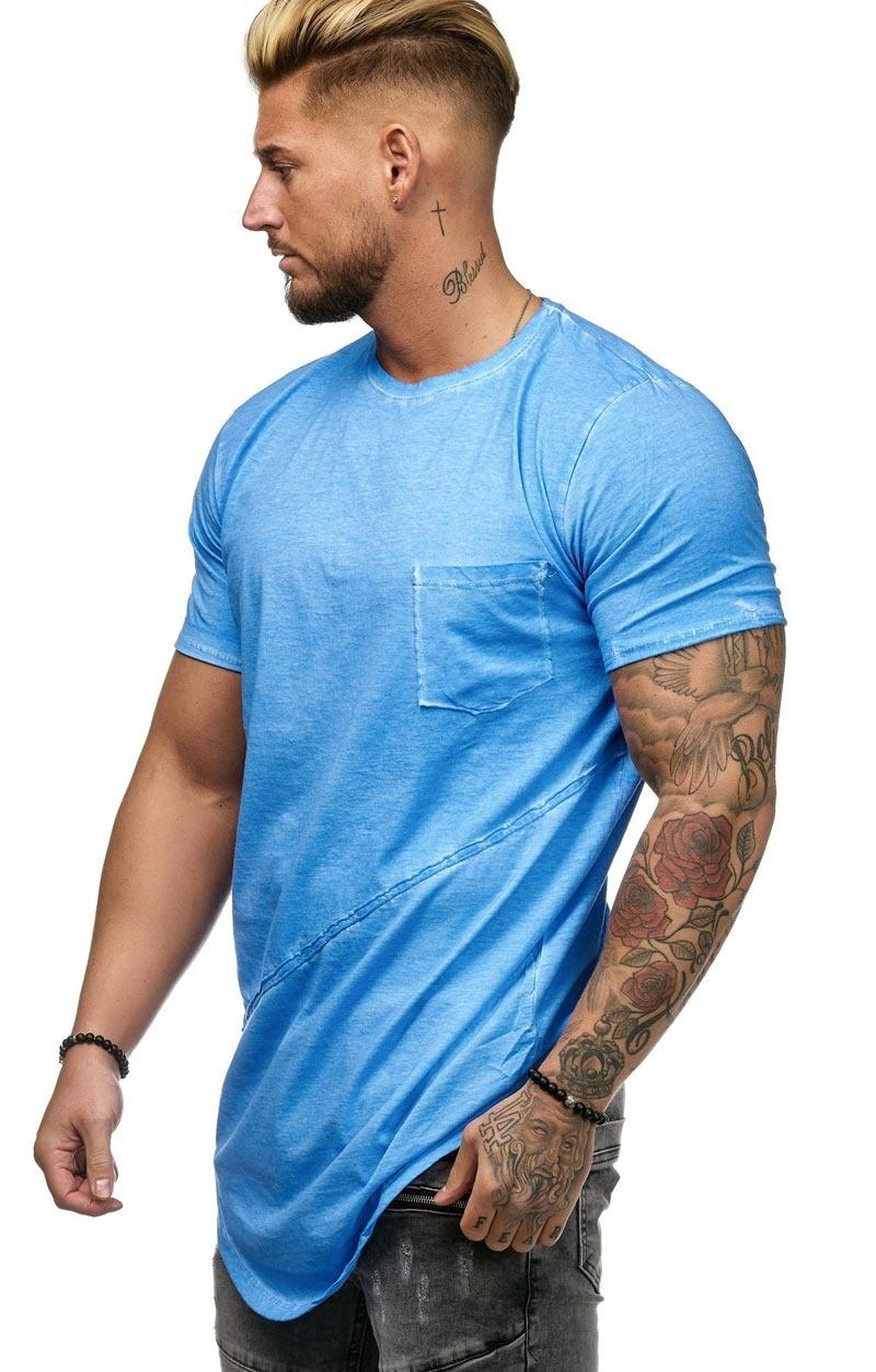 T-shirt | Slim & Long Fit | Blauw | Basic & Stylish | Chest Pocket | B19032