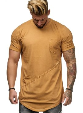 T-shirt | Slim & Long Fit | Geel | Basic & Stylish | Chest Pocket | G19032  (S/M/L/XL)