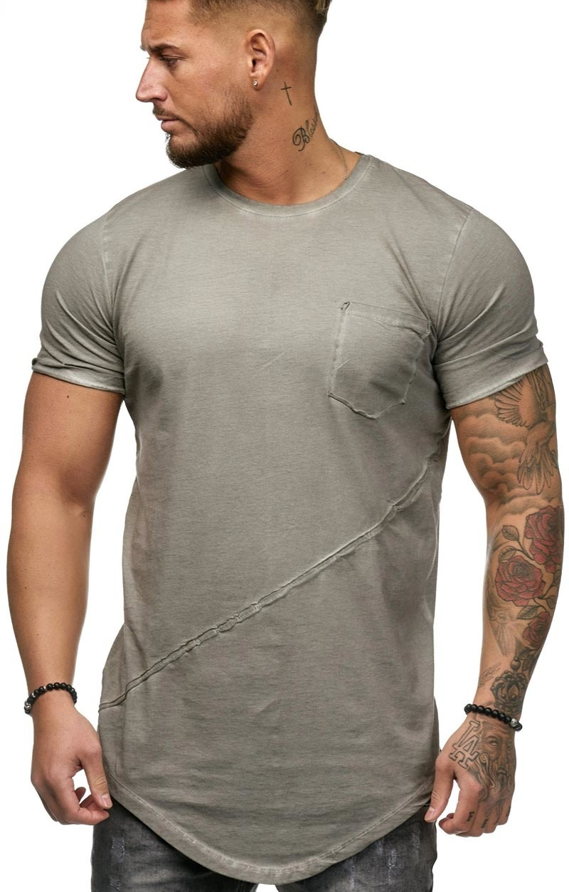 T-shirt | Slim & Long Fit | Grijs | Basic & Stylish | Chest Pocket | GR19032