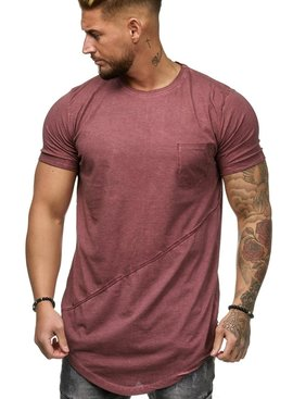 T-shirt | Slim & Long Fit | Rood | Basic & Stylish | Chest Pocket | R19032