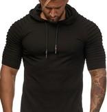 T-shirt | Slim-Fit | Zwart | Ribbed Sleeves | Hoody | Z11150