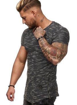 T-shirt Special | Slim-Fit | Ritsen | Blauwgrijs | B1W25