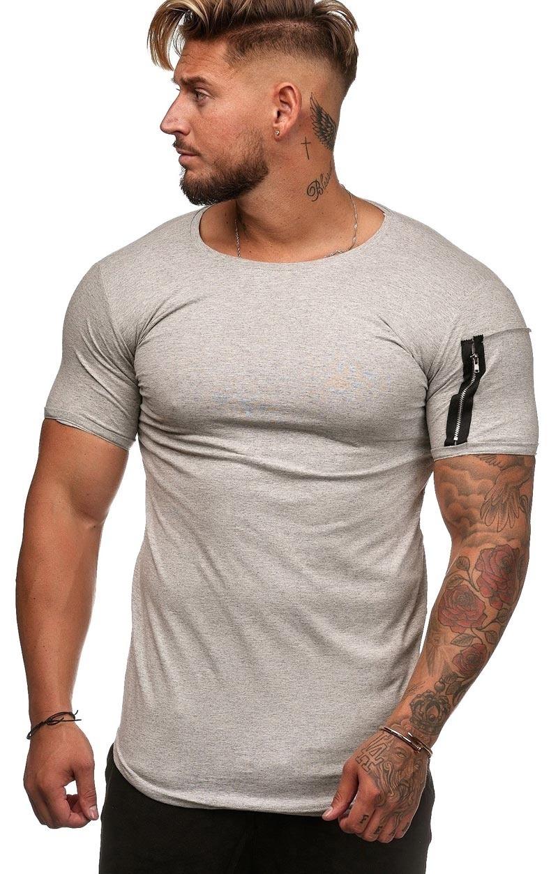 T-shirt Basic   Slim-Fit   Zip Sleeve   Grijs   G1W3